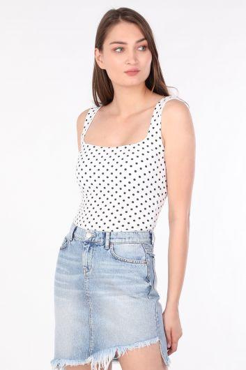 MARKAPIA WOMAN - Kadın Puantiyeli Askılı Bluz Beyaz (1)
