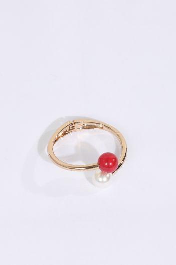 Kadın Renkli Başlıklı Gold Bilezik - Thumbnail