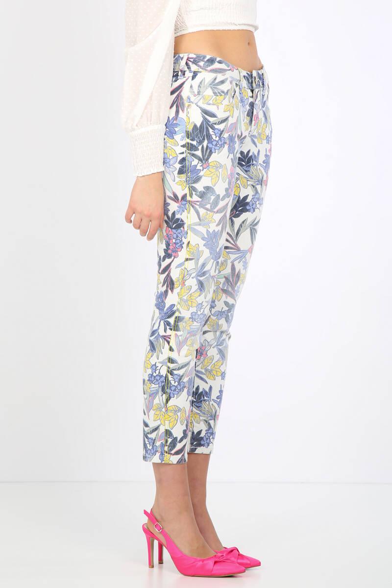 Kadın Renkli Çiçek Desenli Jean Pantolon
