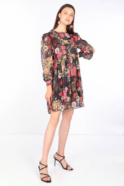 MARKAPIA WOMAN - Kadın Renkli Çiçek Desenli Şifon Elbise (1)