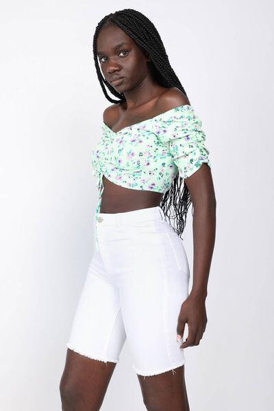 MARKAPIA WOMAN - Kadın Renkli Çiçekli Sırtı Gipeli Crop Bluz (1)