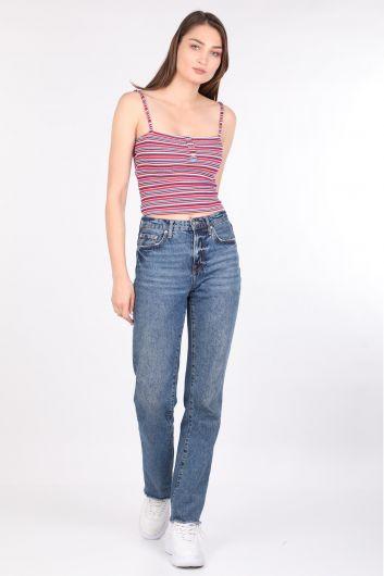 Kadın Renkli Çizgili Askılı Bluz - Thumbnail