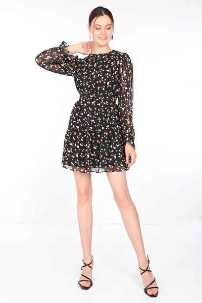 MARKAPIA WOMAN - Kadın Renkli Desenli Şifon Elbise Siyah (1)