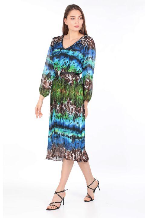 Kadın Renkli Leopar Desenli Pliseli Şifon Elbise