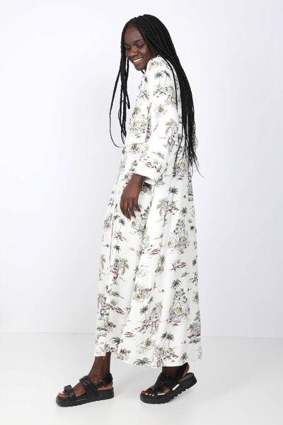 BLUE WHITE - Kadın Renkli Palmiye Desenli Maxi Elbise (1)