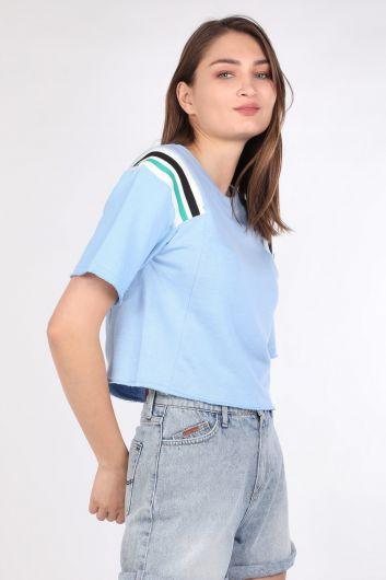 MARKAPIA WOMAN - Kadın Ribanalı Crop T-shirt Mavi (1)