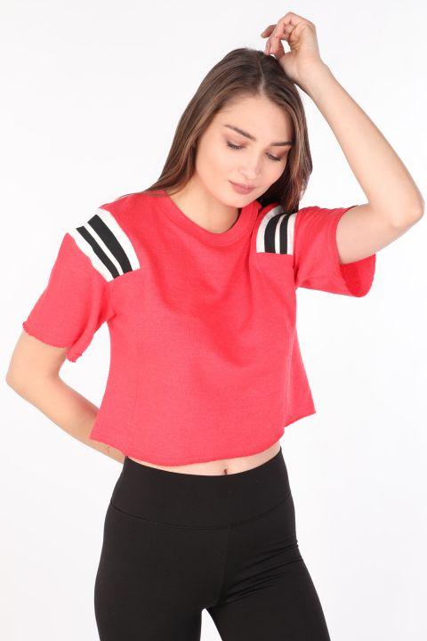 Kadın Ribanalı Crop T-shirt Nar Çiçeği