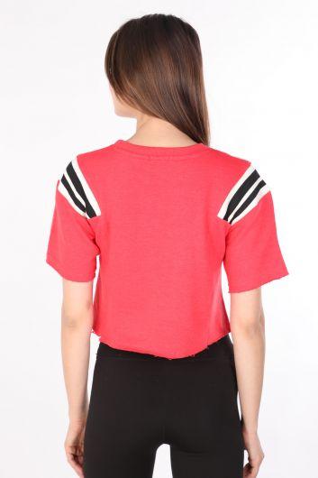 Kadın Ribanalı Crop T-shirt Nar Çiçeği - Thumbnail