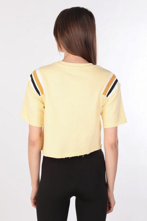 Kadın Ribanalı Crop T-shirt Sarı