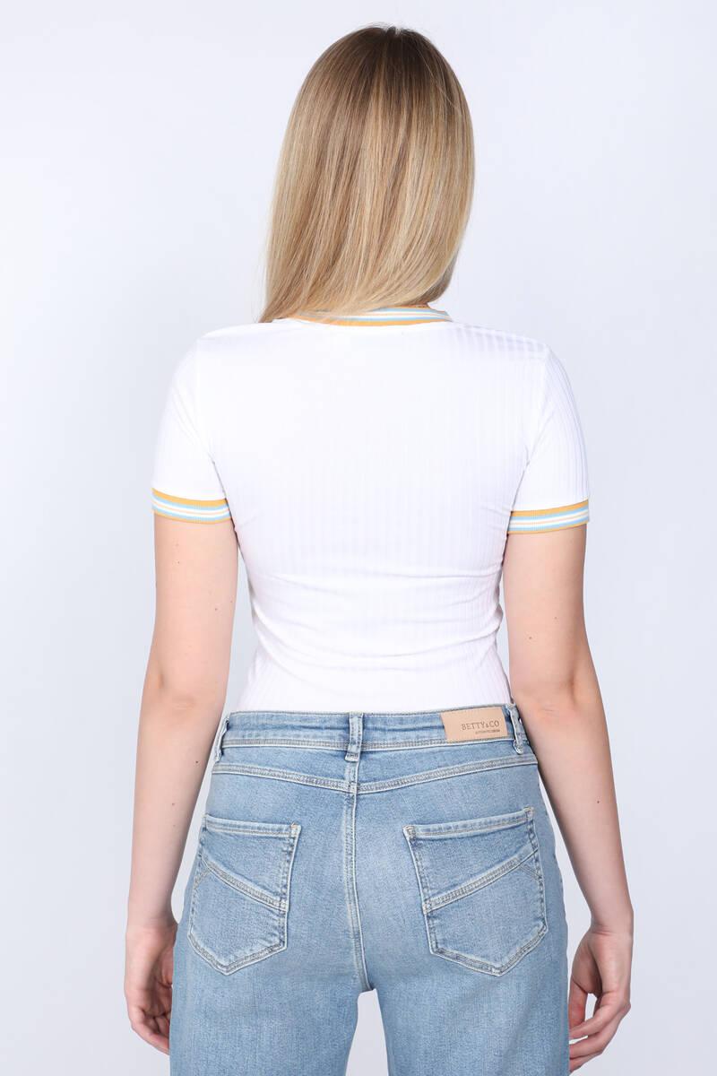 Kadın Ribanalı Fitilli T-shirt Beyaz
