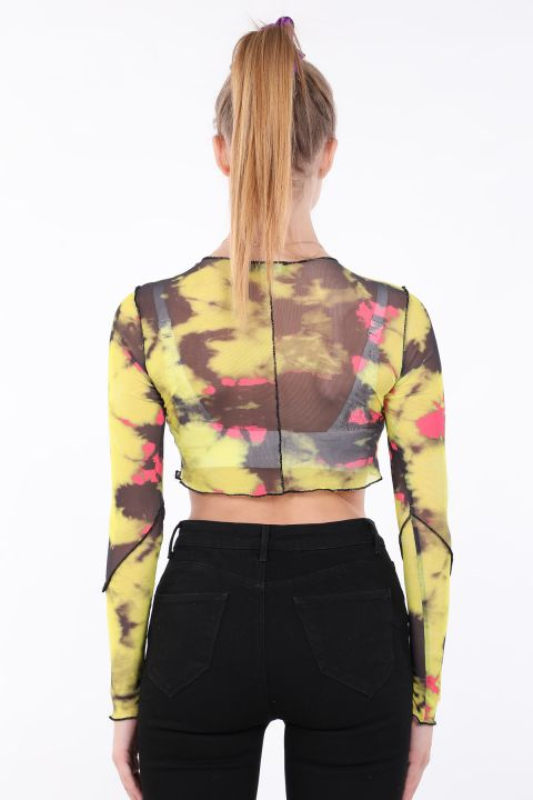 Kadın Sarı Batik Crop Transparan Bluz