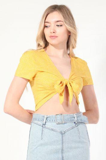 Kadın Sarı Puantiyeli Bağlamalı Bluz - Thumbnail