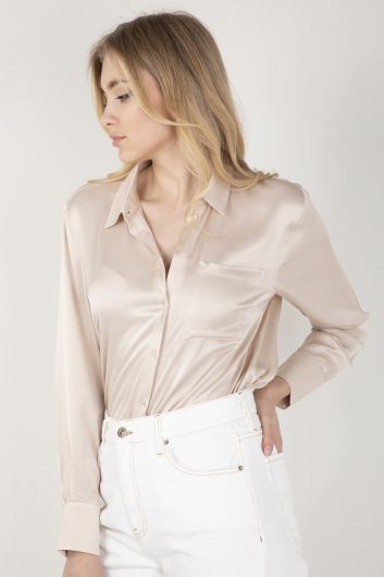 Kadın Saten Gömlek Taş - Thumbnail
