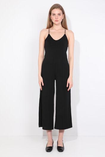Kadın Siyah Çapraz Askılı Tulum Pantolon - Thumbnail