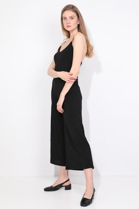 Kadın Siyah Çapraz Askılı Tulum Pantolon