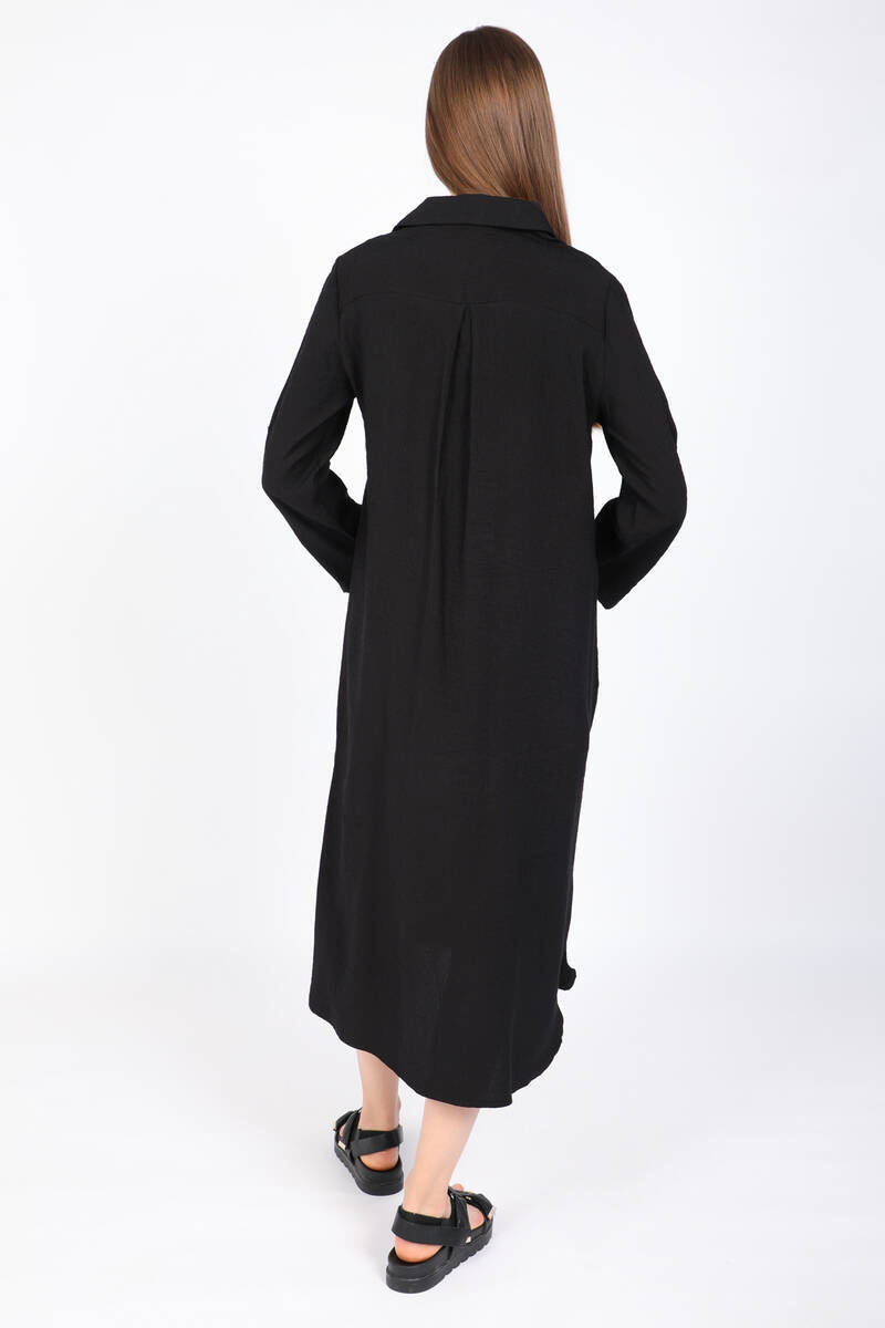 Kadın Siyah Cepli Uzun Gömlek