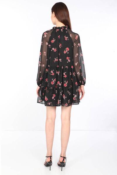 MARKAPIA WOMAN - Kadın Siyah Çiçek Desenli Yakası Bağlamalı Şifon Elbise (1)