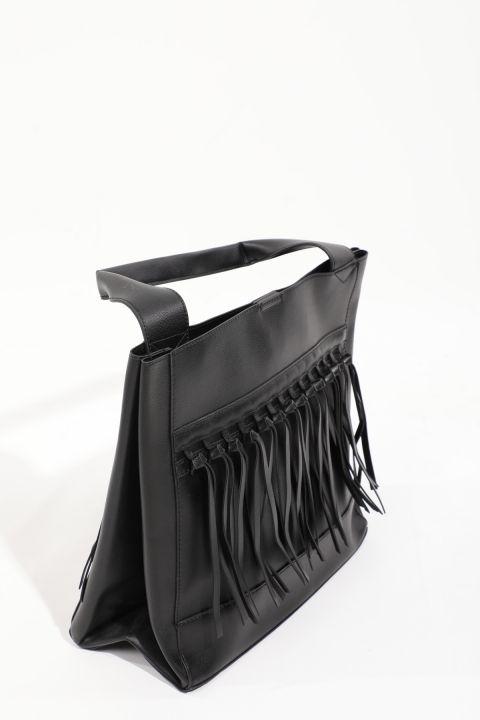 Kadın Siyah Deri Görünümlü Tote Çanta