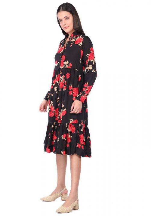 Kadın Siyah Gül Desenli Büzgülü Elbise