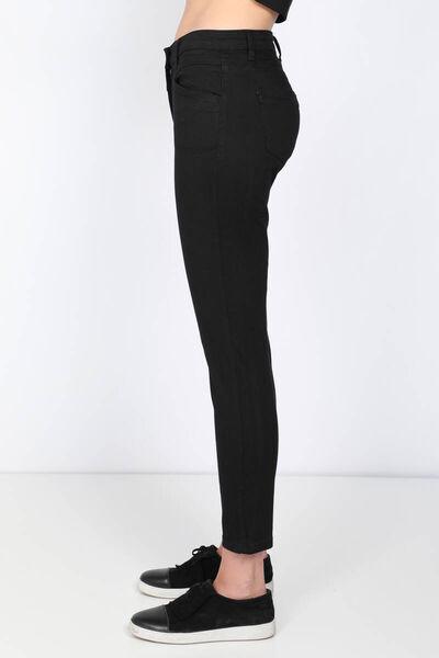 BLUE WHITE - Kadın Siyah Kemer Detaylı Jean Pantolon (1)
