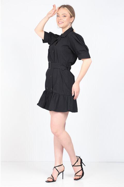 Kadın Siyah Kemerli Ceket Elbise