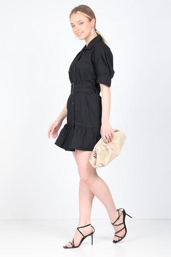 Kadın Siyah Kemerli Ceket Elbise - Thumbnail