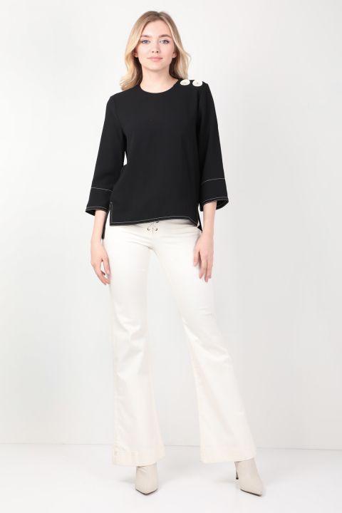 Kadın Siyah Kontrast Dikişli Bluz