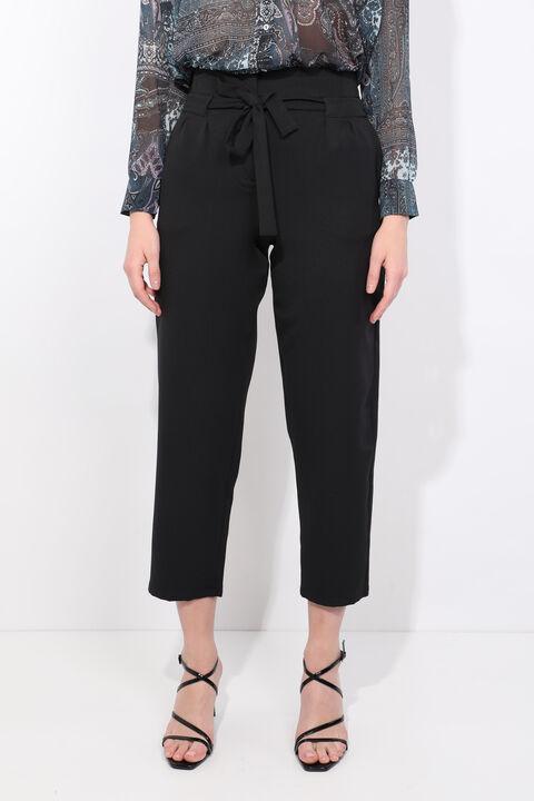 Kadın Siyah Kuşaklı Yüksek Bel Kumaş Pantolon