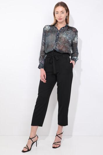Kadın Siyah Kuşaklı Yüksek Bel Kumaş Pantolon - Thumbnail