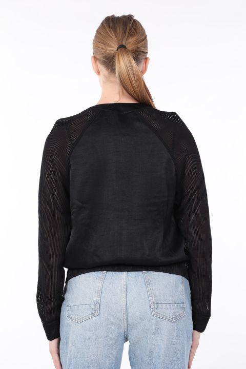 Kadın Siyah Örgü Kollu Bomber Ceket