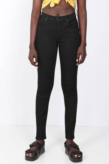 BLUE WHITE - Kadın Siyah Payet Detaylı Slim Fit Jean Pantolon (1)