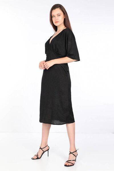 MARKAPIA WOMAN - Kadın Siyah V Yaka Midi Boy Elbise (1)