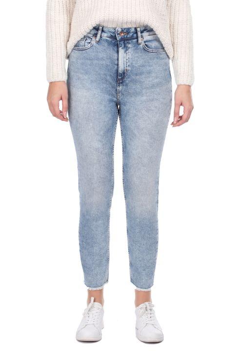 Kadın Skinny Fit Kesik Jean Pantolon
