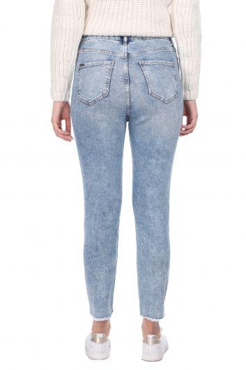 Kadın Skinny Fit Kesik Jean Pantolon - Thumbnail