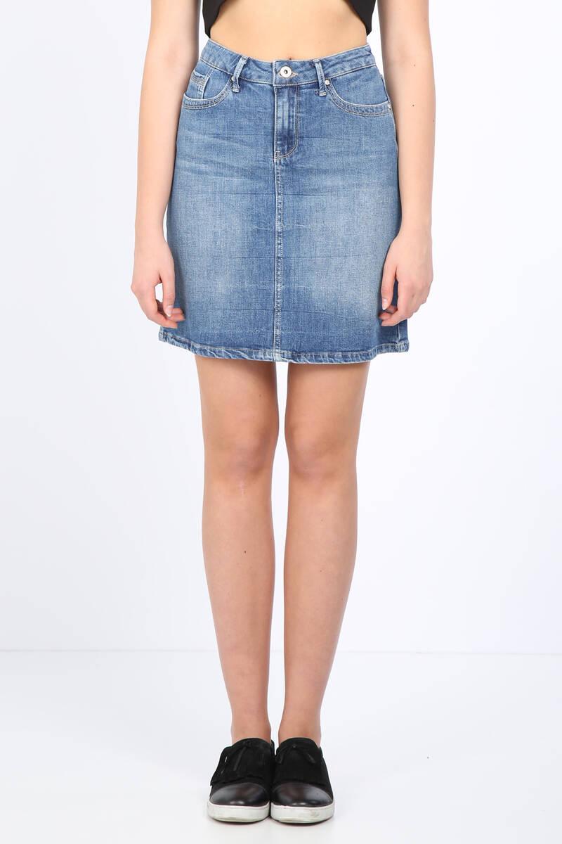 Kadın Slim Fit Jean Etek Açık Mavi