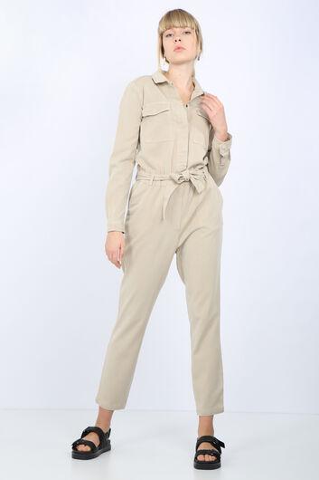MARKAPIA - Kadın Taş Cepli Kuşaklı Tulum Pantolon (1)