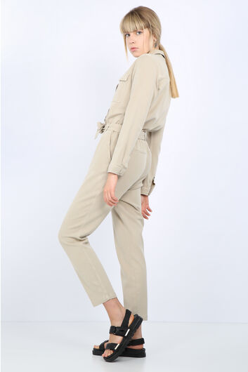 Kadın Taş Cepli Kuşaklı Tulum Pantolon - Thumbnail