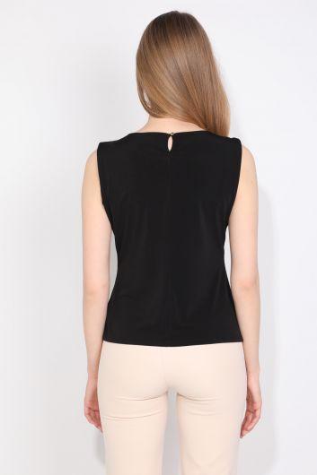 Kadın Yakası Pileli Kolsuz Bluz Siyah - Thumbnail