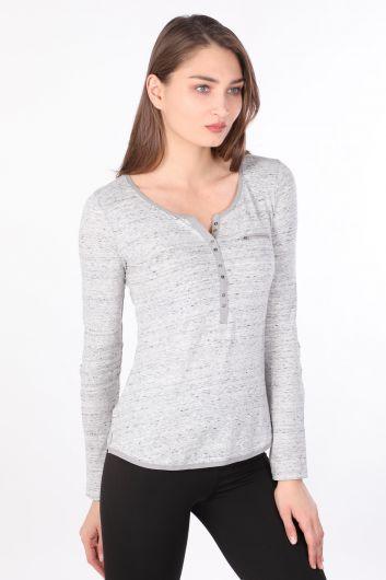 MARKAPIA WOMAN - Kadın Yarım Düğmeli Uzun Kollu Basic T-shirt Gri (1)