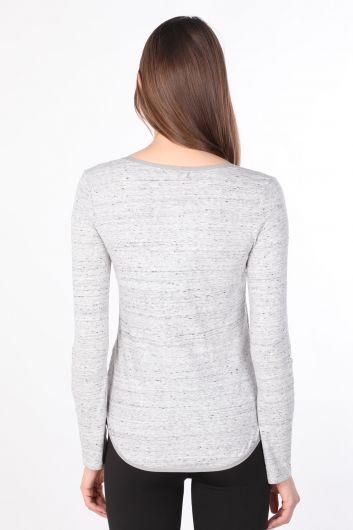 Kadın Yarım Düğmeli Uzun Kollu Basic T-shirt Gri - Thumbnail