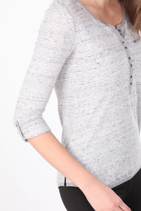 Kadın Yarım Düğmeli Uzun Kollu Basic T-shirt Gri