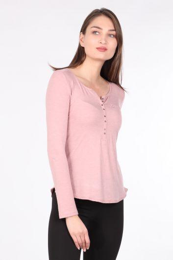 MARKAPIA WOMAN - Kadın Yarım Düğmeli Uzun Kollu Basic T-shirt Gül Kurusu (1)