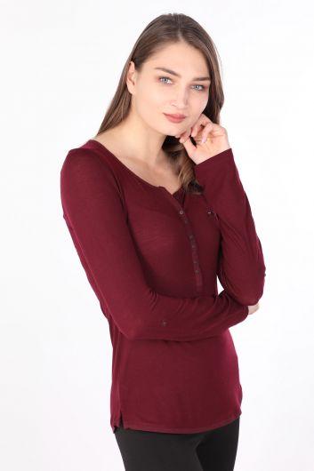 MARKAPIA WOMAN - Kadın Yarım Düğmeli Uzun Kollu Basic T-shirt Mürdüm (1)