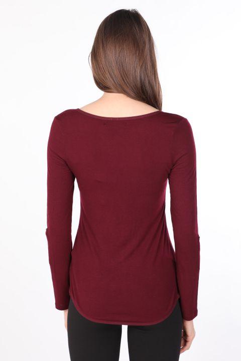 Kadın Yarım Düğmeli Uzun Kollu Basic T-shirt Mürdüm