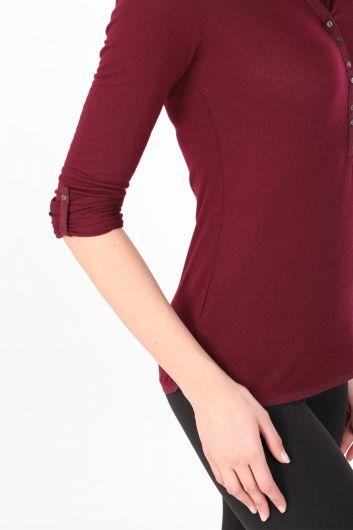 Kadın Yarım Düğmeli Uzun Kollu Basic T-shirt Mürdüm - Thumbnail