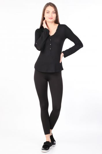 MARKAPIA WOMAN - Kadın Yarım Düğmeli Uzun Kollu Basic T-shirt Siyah (1)