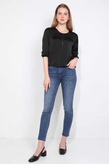 Kadın Yarım Fermuarlı Bluz Siyah - Thumbnail