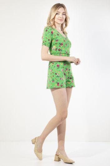 MARKAPIA WOMAN - Kadın Yeşil Çiçekli Tulum Şort (1)