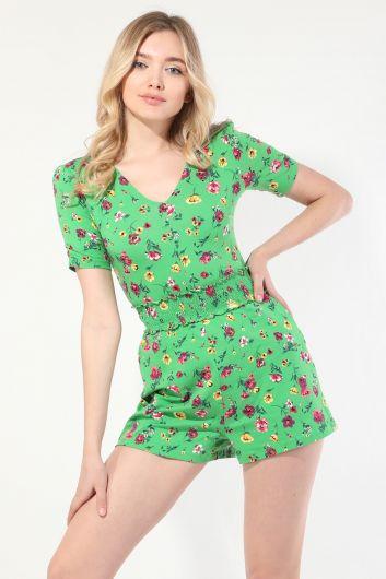Kadın Yeşil Çiçekli Tulum Şort - Thumbnail