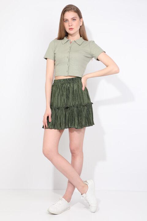 Kadın Yeşil Pliseli Mini Etek
